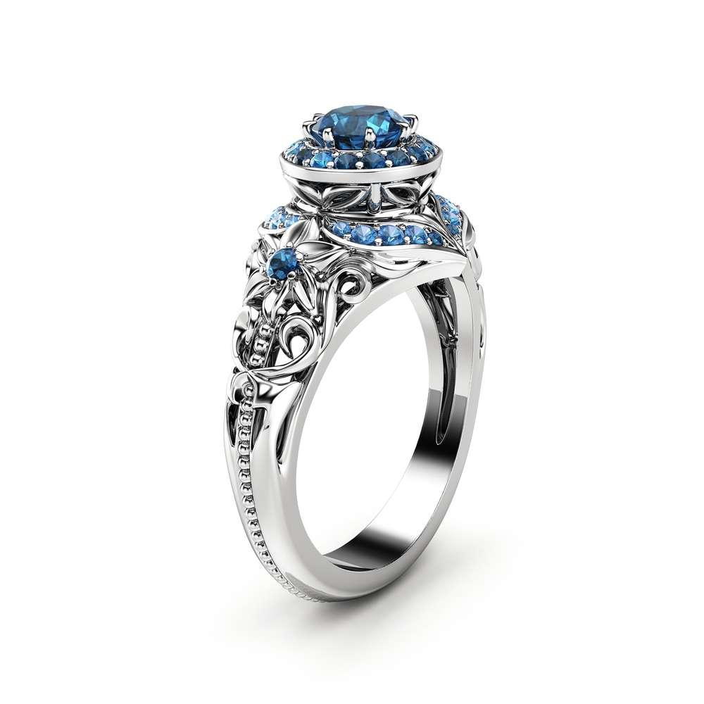 Blue Diamond Ring Unique Engagement Ring 14K White Gold Ring Natural Diamond Ring