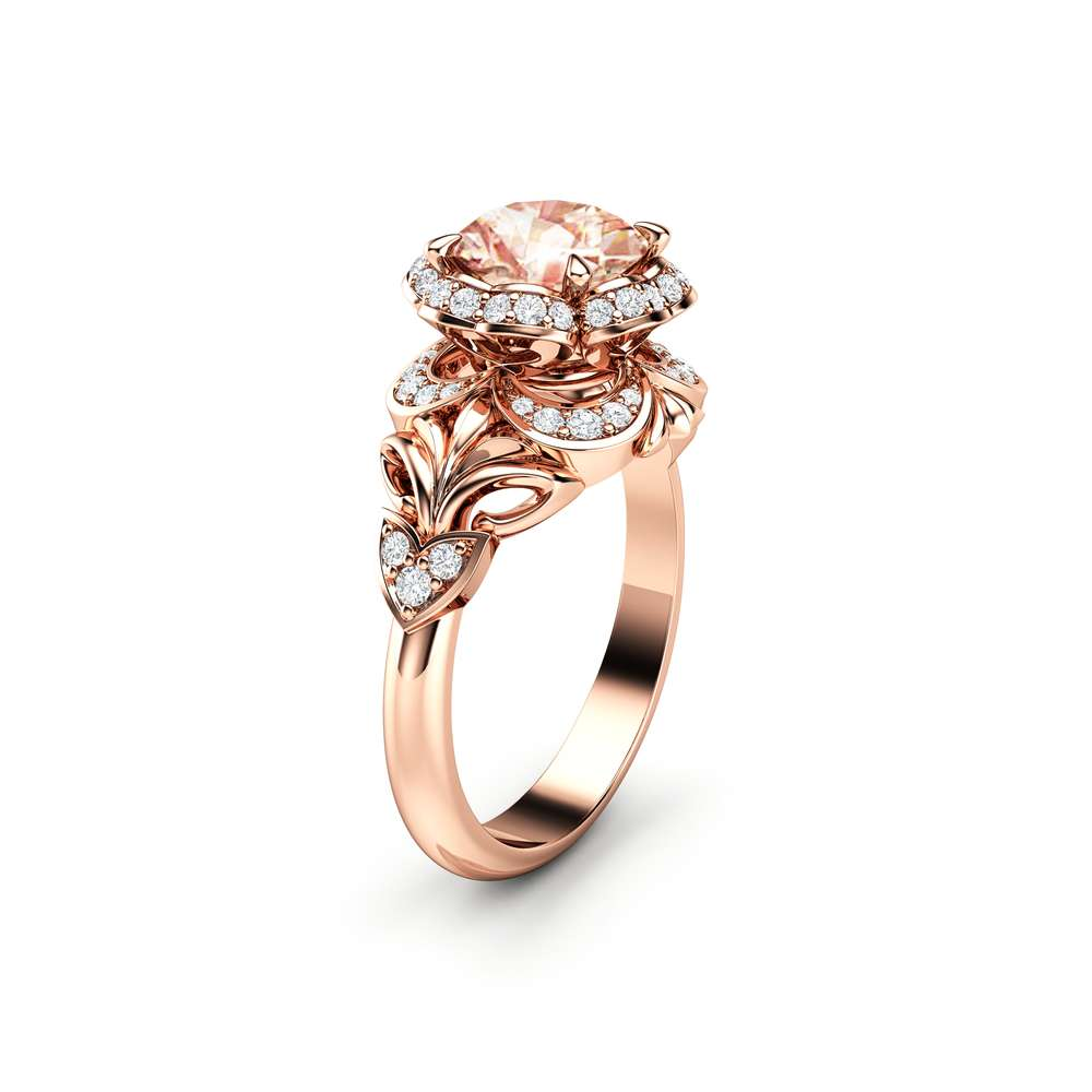 Morganite Engagement Ring Halo Ring Rose Gold Engagement Ring Unique Gemstone Ring