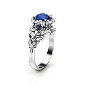 Blue Sapphire Engagement Ring Halo Ring 14K White Gold Ring Unique Engagement Ring