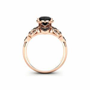 Halo Engagement Ring Black Diamond Ring 14K Rose Gold Ring Diamonds Engagement Ring