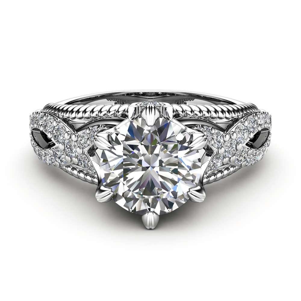 Moissanite Engagement Ring 14K White Gold Ring Milgrain Ring Moissanite Ring
