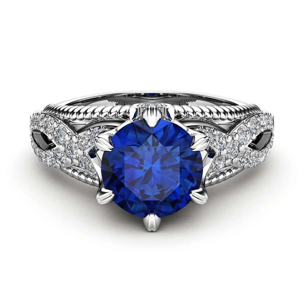 Blue Sapphire Engagement Ring 1.5 Carat Ring 14K White Gold Ring Milgrain Engagement Ring