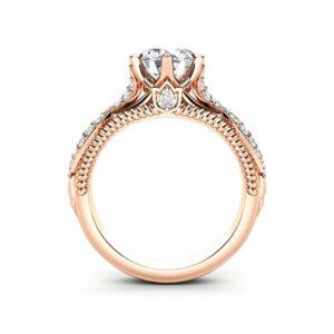 Rose Gold Moissanite Engagement Ring 14K Gold Engagement Ring Unique Milgrain Ring