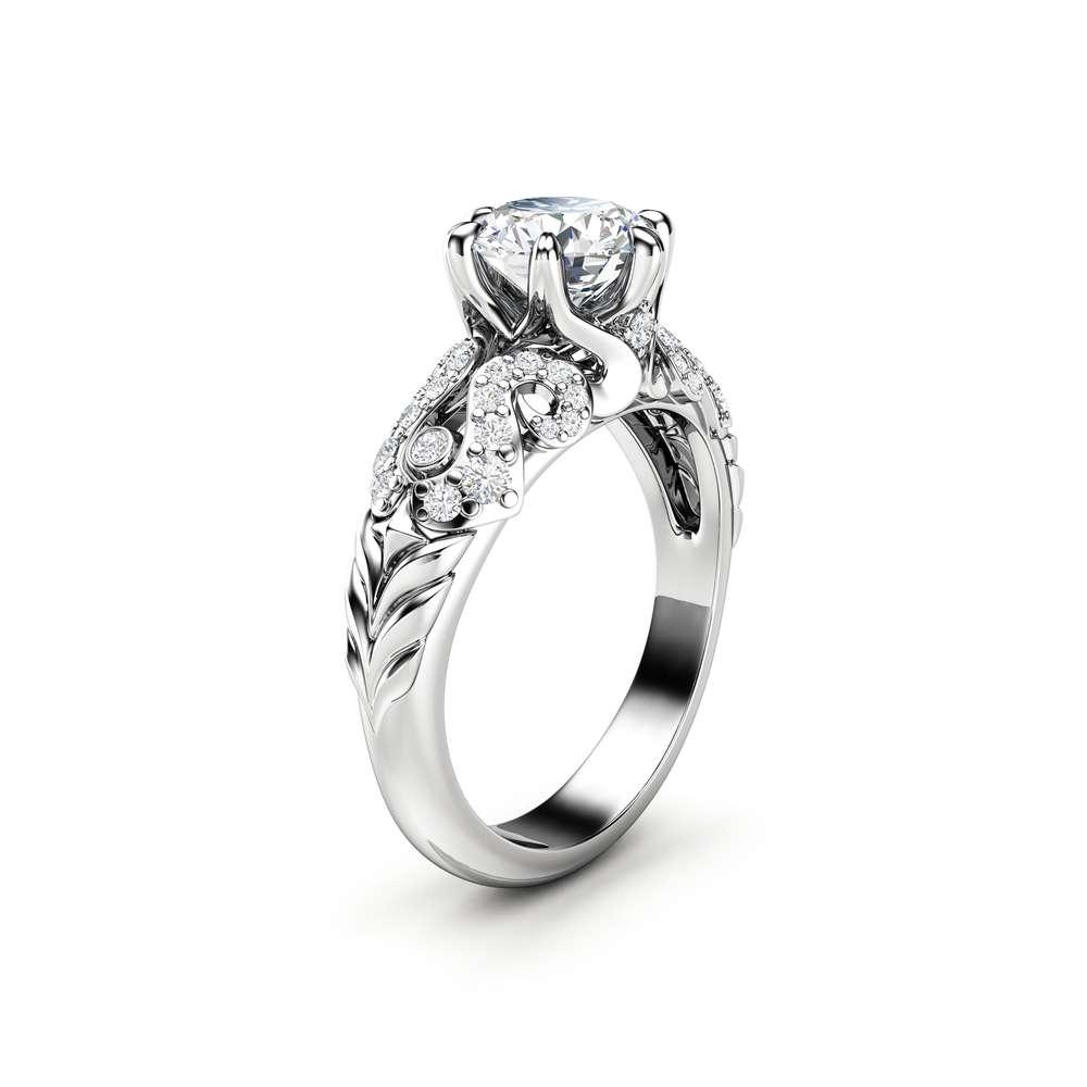 Moissanite Engagement Ring White Gold Ring Unique Diamonds Engagement Ring