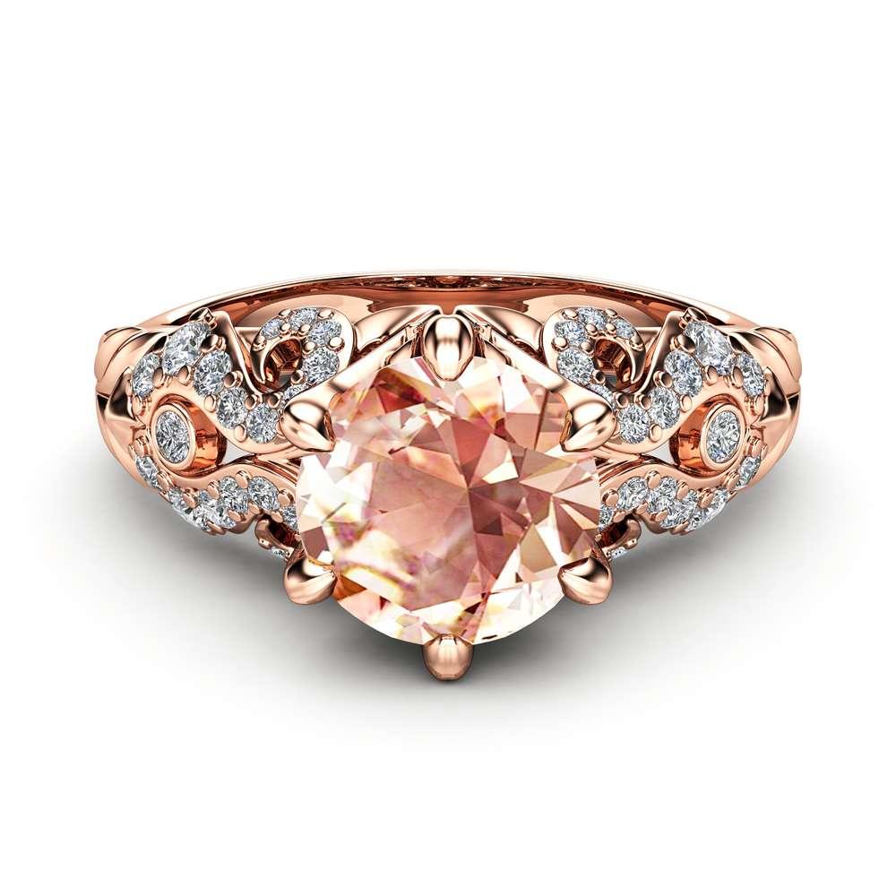 Peach Sapphire Ring Sapphire Engagement Ring 14K Rose Gold Ring Diamonds Engagement Ring