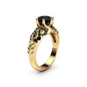 Black Diamond Ring Engagement Ring 14K Solid Gold Ring Diamonds Engagement Ring