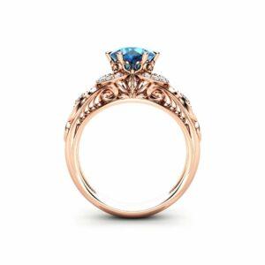 Blue Diamond Engagement Ring Promise Ring Rose Gold Ring Vintage Diamonds Engagement Ring