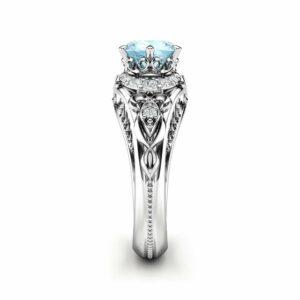 Aquamarine Engagement Ring Promise Ring 14K White Gold Ring Diamonds Engagement Ring