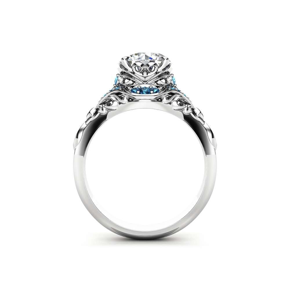 Moissanite Engagement Ring Blue Diamonds Ring 14K White Gold Ring Unique Engagement Ring