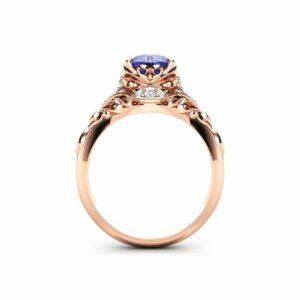 Tanzanite Engagement Ring 14K Rose Gold Ring Diamonds Ring Bluish Violet Tanzanite Ring