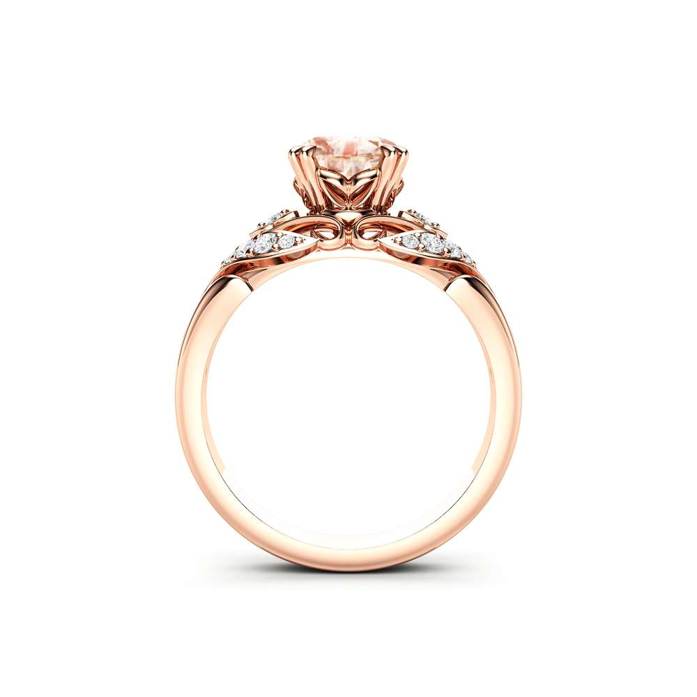 Sapphire Engagement Ring 14K Rose Gold Ring Peach Sapphire Ring Unique Modern Promise Ring