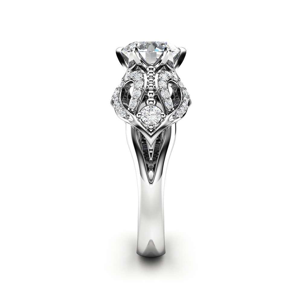Moissanite Engagement Ring 14K White Gold Ring Art Nouveau Diamonds Engagement Ring