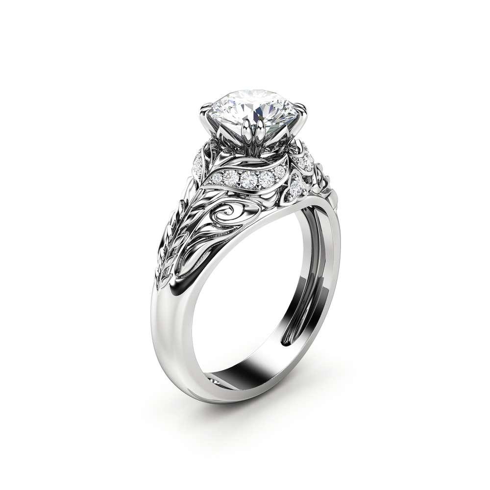 Moissanite Engagement Ring 14K White Gold Ring Round Moissanite Ring Halo Engagement Ring