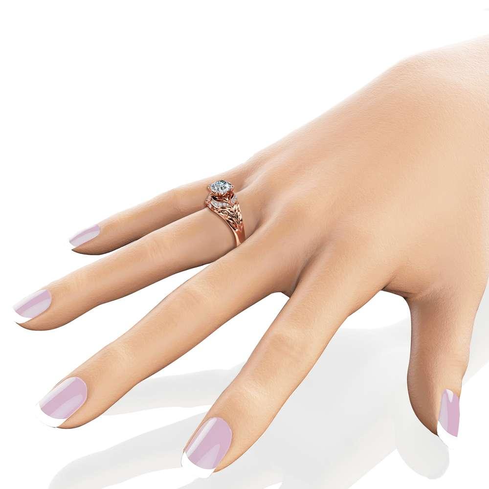 Moissanite Engagement Ring Halo Engagement Ring Halo Rose Gold Ring 14K Rose Gold