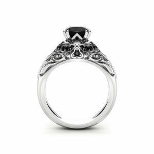 Black Diamond Engagement Ring White Gold Ring Halo Engagement Ring Diamonds Ring