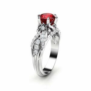 Ruby Engagement Ring 14K White Gold Ring Art Deco Engagement Ring