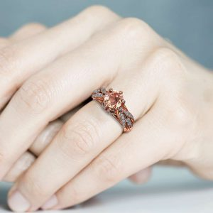 Peach Sapphire Engagement Ring 14K Rose Gold Ring Art Deco Engagement Ring