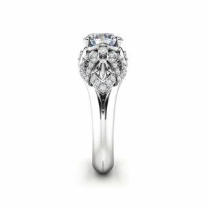 Art Deco Engagement Ring 14K White Gold Ring Moissanite Engagement Ring Gold Moissanite Ring
