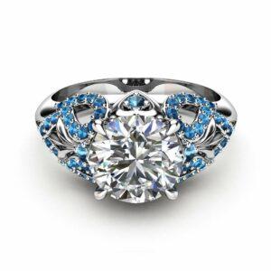 Art Deco Engagement Ring 14K White Gold Ring Moissanite Engagement Ring Blue Diamonds Ring
