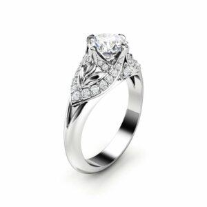 Moissanite Engagement Ring 14K White Gold Ring  Edwardian Engagement Ring Gold Moissanite Ring