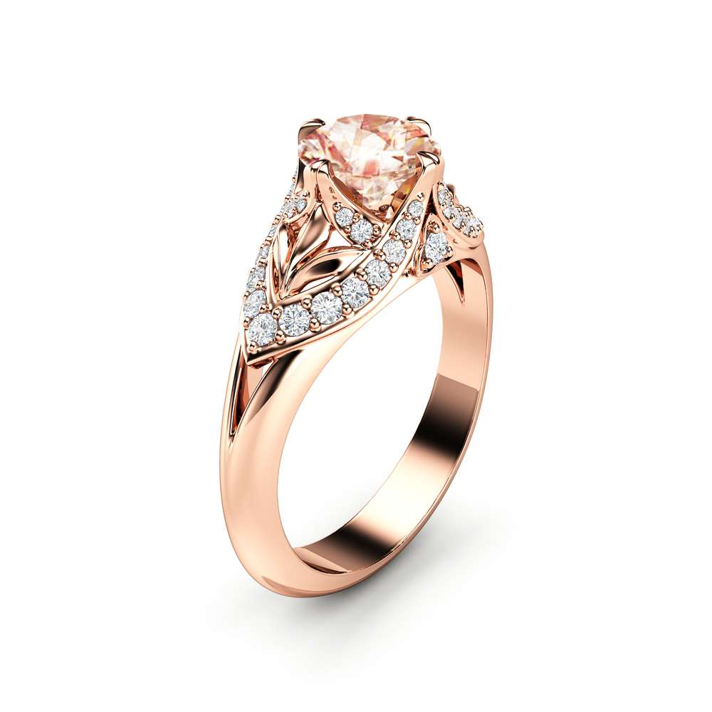 Peach Sapphire Engagement Ring 14K Rose Gold Ring Edwardian Engagement Ring