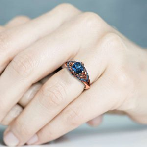 Blue Diamond Engagement Ring 14K Rose Gold Ring Edwardian Engagement Ring