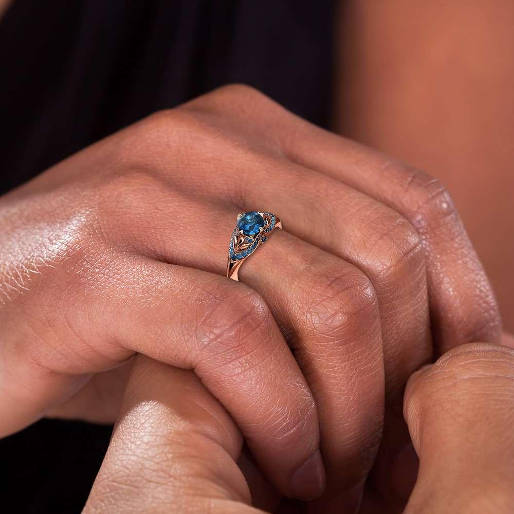 Blue Diamond Engagement Ring 14K Rose Gold Ring Edwardian Engagement Ring