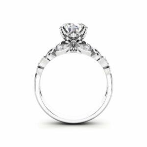 Moissanite Engagement Ring 14K White Gold Ring Halo Engagement Ring