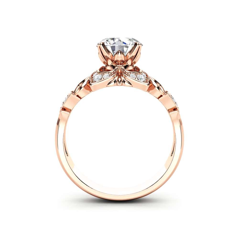 Moissanite Engagement Ring Rose Gold RIng Halo Engagement Ring