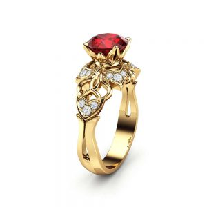 Ruby Engagement Ring Yellow Gold Ring Halo Engagement Ring