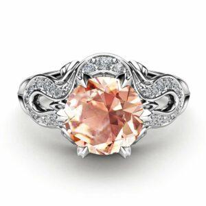 Morganite Engagement Ring 14K White Gold Ring Unique Engagement Ring White Gold Morganite RIng