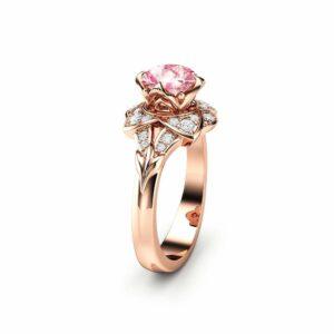 Pink Moissanite Engagement Ring 14K Rose Gold Moissanite Ring Unique Engagement Ring