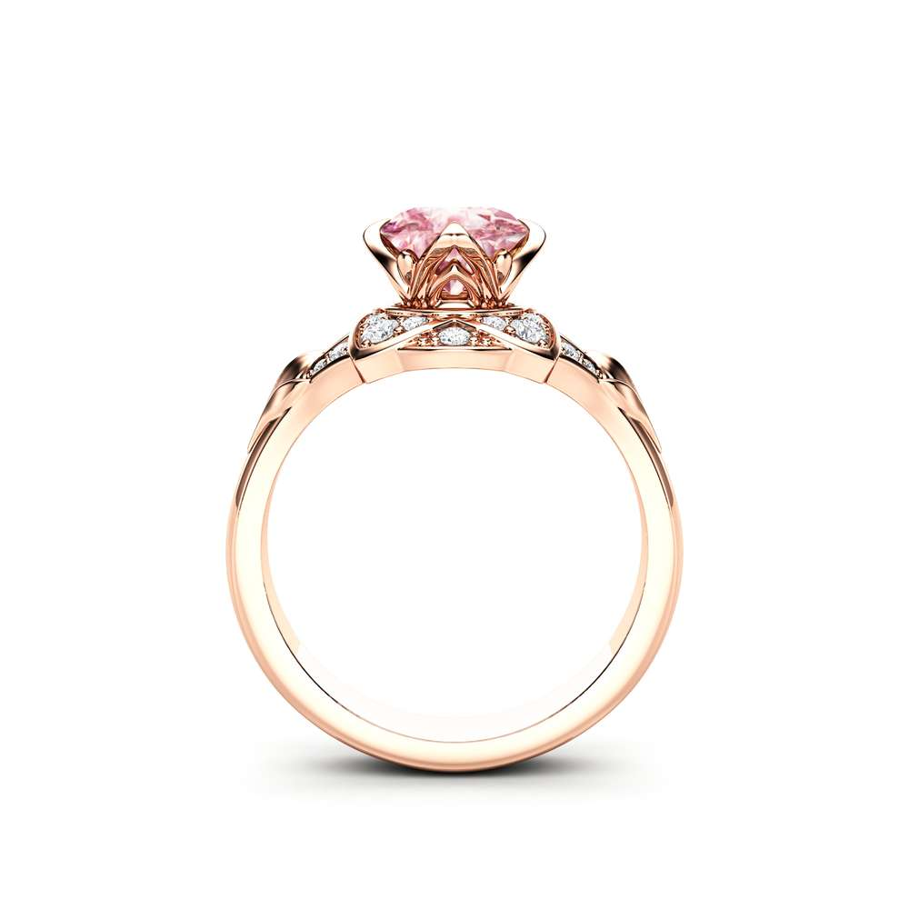 Pink Moissanite Engagement Ring 14K Rose Gold Moissanite Ring Unique Engagement Ring