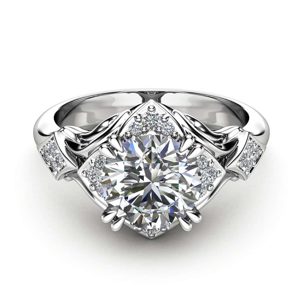 Moissanite Engagement Ring 14K White Gold Art Nouveau Ring Unique Engagement Ring
