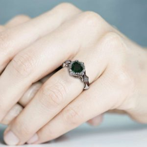 Unique Engagement Ring Emerald Engagement Ring 14K White Gold Art Nouveau Ring