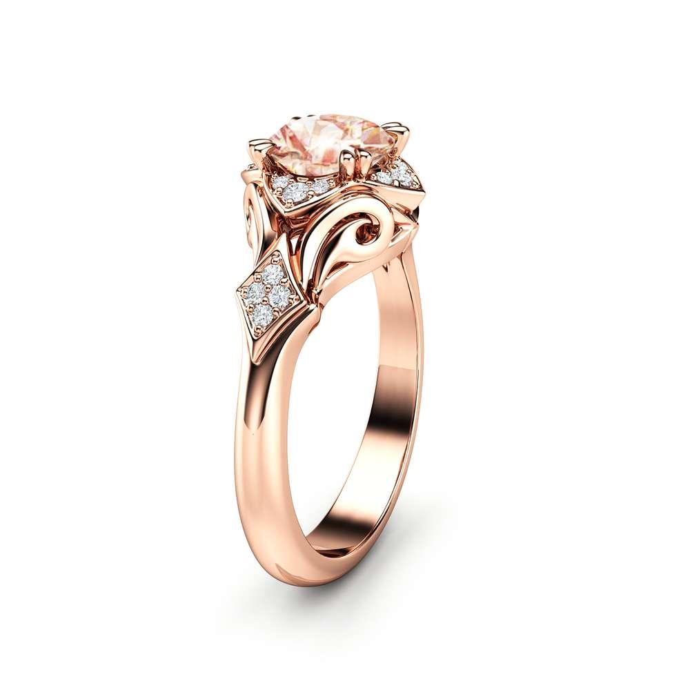Unique Engagement Ring Morganite Engagement Ring 14K Rose Gold Ring Anniversary Ring