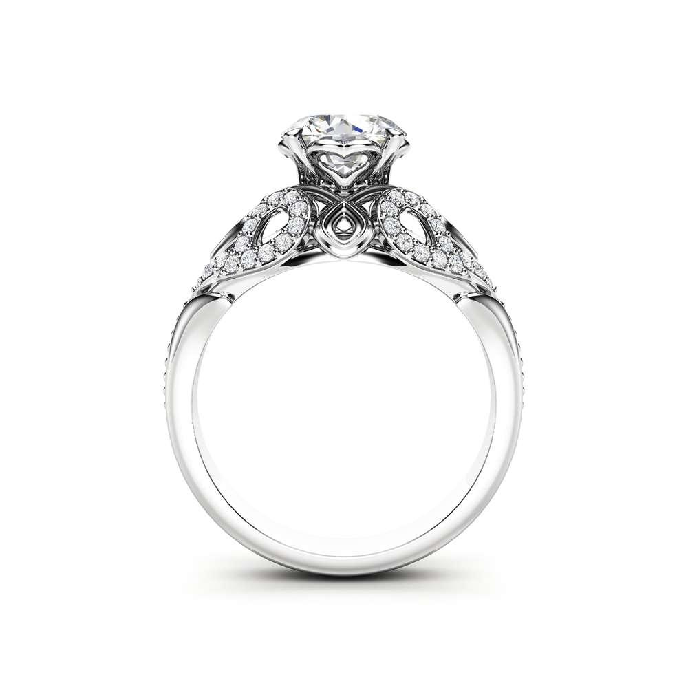 Moissanite Engagement Ring 14K White Gold Ring Unique Art Deco Engagement Ring
