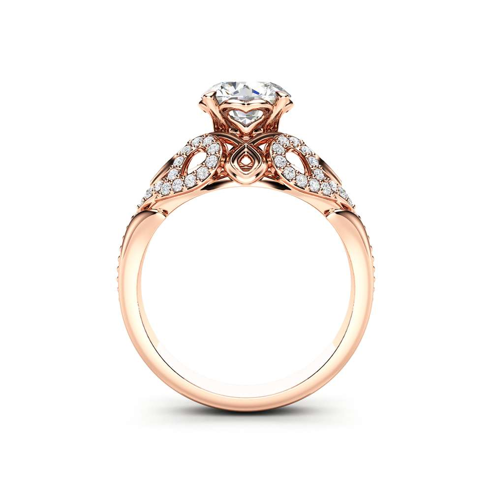 Moissanite Engagement Ring 14K Rose Gold Ring Unique Art Deco Engagement Ring