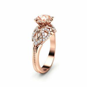 Peach Sapphire Engagement Ring 14K Rose Gold Ring Unique Art Deco Engagement Ring
