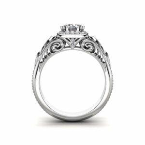 Moissanite Engagement Ring Halo Engagement Ring Unique 14K White Gold Ring
