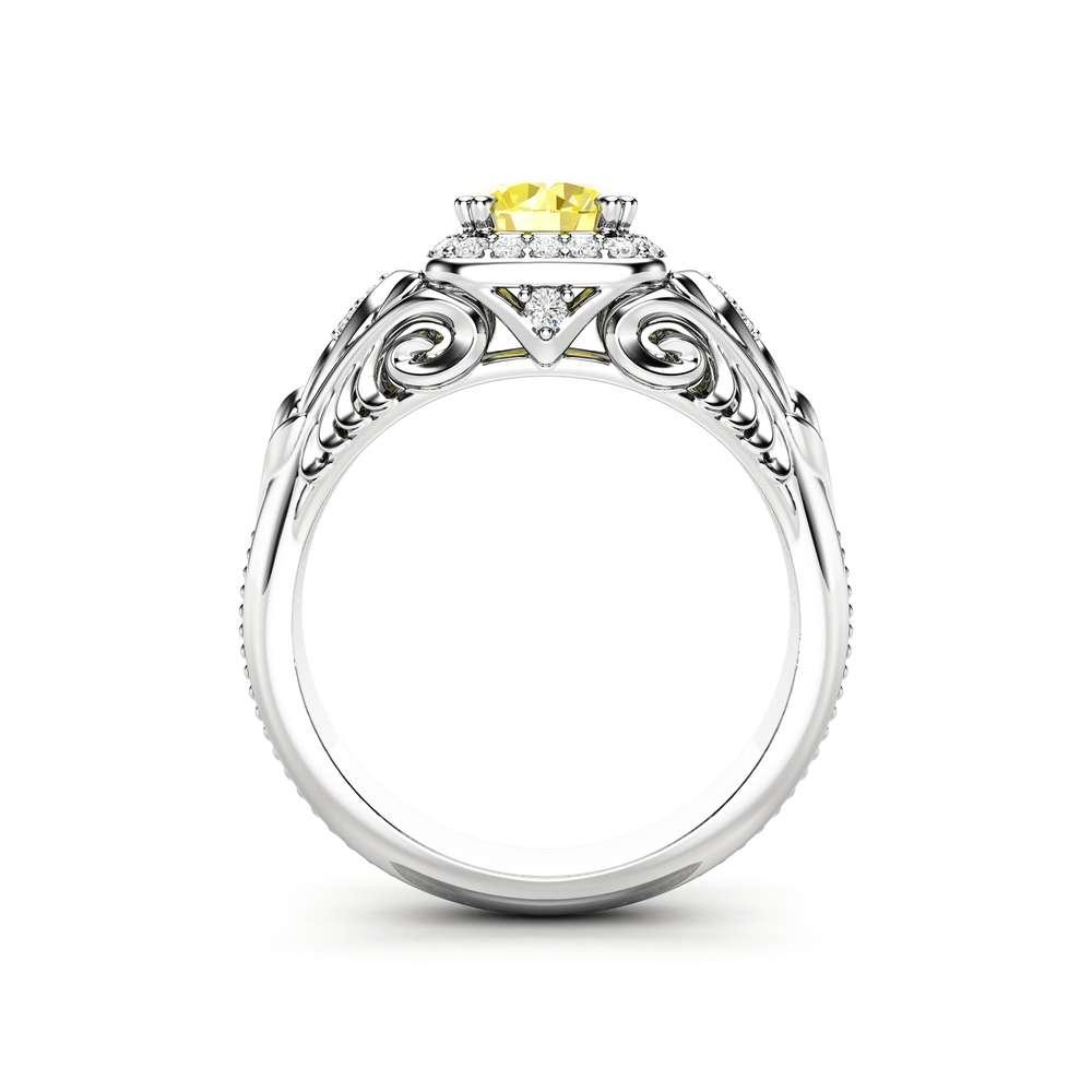 Yellow Moissanite Engagement Ring Diamond Halo Ring Unique 14K White Gold Ring