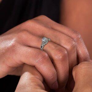 Unique Engagement Ring Moissanite Engagement Ring 14K White Gold Ring Leaves Ring