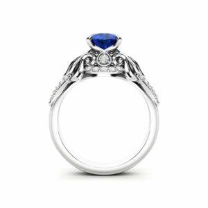 Blue Sapphire Engagement Ring 14K White Gold Ring Leaves Ring Unique Engagement Ring