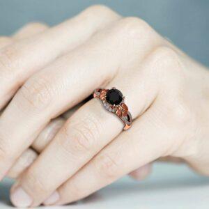 Black Diamond Engagement Ring 14K Rose Gold Ring Leaves Unique Engagement Ring