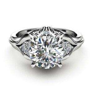 Unique Engagement Ring 1.28 Carat Forever One Moissanite Engagement Ring 14K White Gold Ring