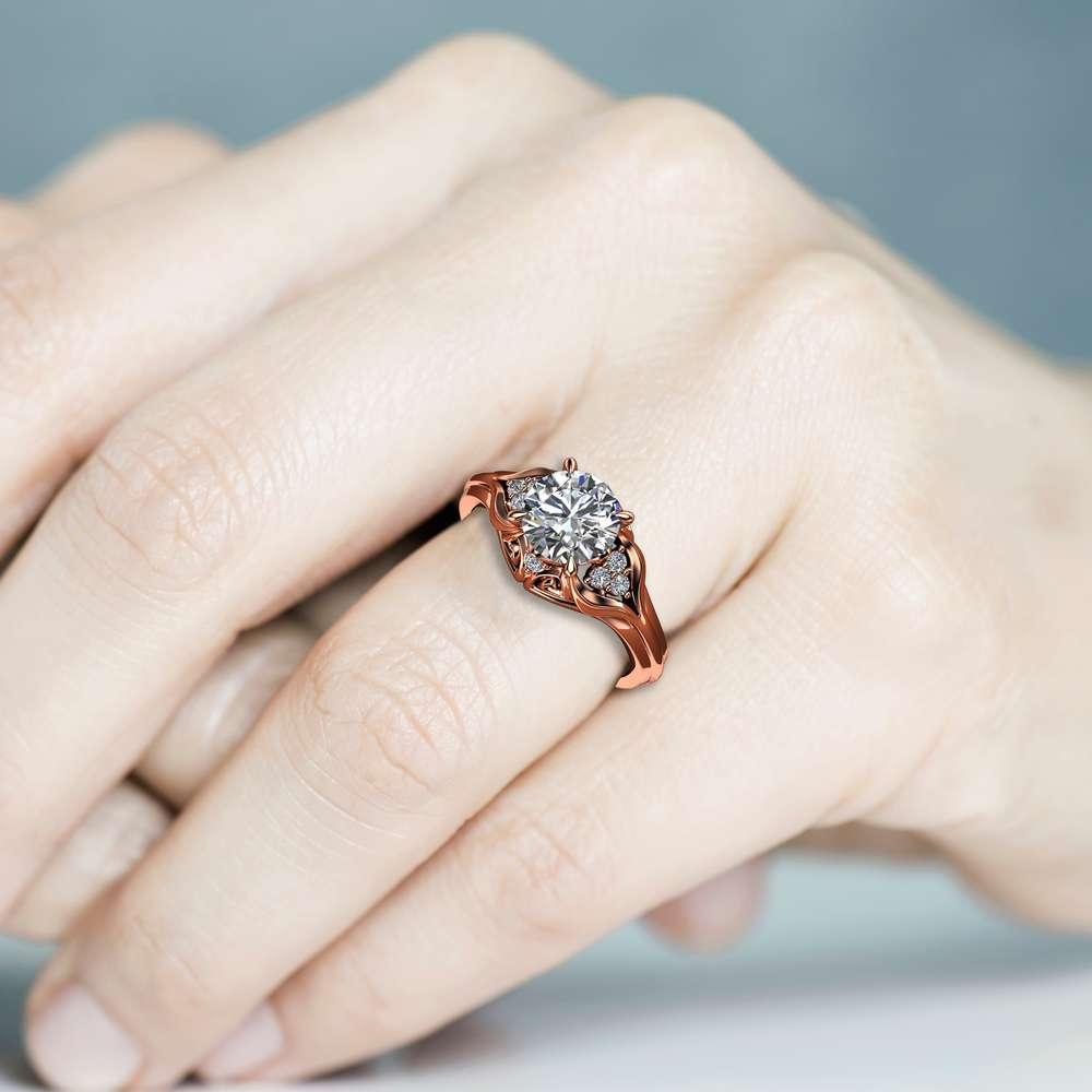 Unique Engagement Ring 1.28 Carat Forever One Moissanite Engagement Ring 14K Rose Gold Ring