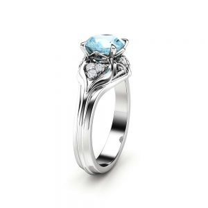 Aquamarine Engagement Ring 14K White Gold Ring Unique Diamonds Engagement Ring