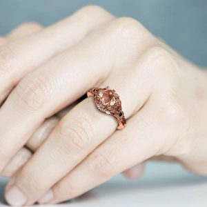 Unique Engagement Ring Morganite Engagement Ring 14K Rose Gold Ring Art Deco Ring