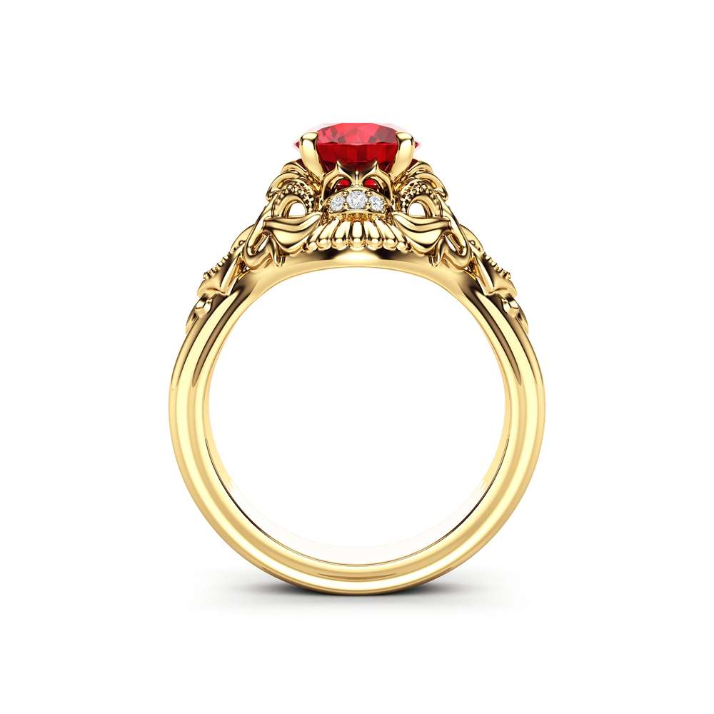 Unique Engagement Ring Ruby Engagement Ring 14K Rose Gold Ring Art Deco Ring