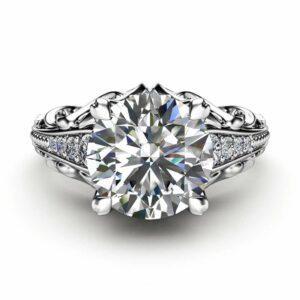 Unique Moissanite Engagement Ring 14K White Gold Ring Promise Ring Filigree Engagement Ring